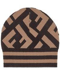 f96cd055acd Fendi All Over Zucca Logo Knit Wool Skull Cap in Brown - Lyst