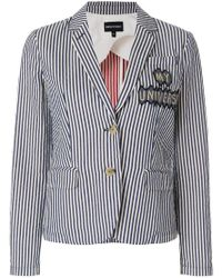 Emporio Armani - Patch-appliqué Striped Blazer - Lyst