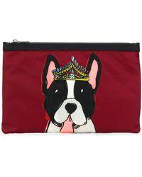 Dolce & Gabbana | Crowned Dog Print Clutch | Lyst