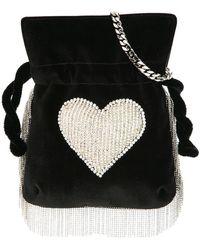 Les Petits Joueurs - Heart Embellished Fringed Shoulder Bag - Lyst
