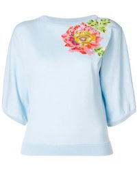 Blumarine - Floral Short-sleeve Sweater - Lyst
