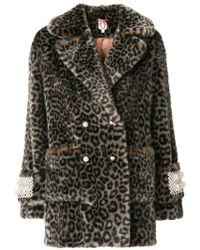 Shrimps - Leopard Print Coat With Pearl Embellishments - Lyst