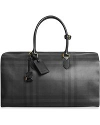 Burberry - Leather Trim London Check Holdall - Lyst