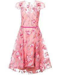 Marchesa notte - Floral Embroidered Flared Dress - Lyst