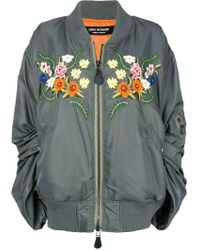 Junya Watanabe - Ruched Sleeve Embroidered Floral Bomber Jacket - Lyst