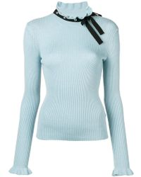 RED Valentino - Neck-tied Ribbed Sweater - Lyst