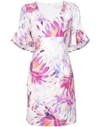 Trina Turk - Floral Ruffle Sleeve Dress - Lyst
