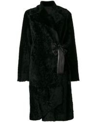 DROMe - Belted Fur Coat - Lyst