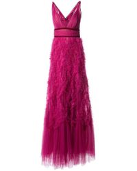 Marchesa notte - Ruffled Tulle Gown - Lyst