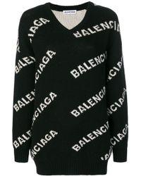 Balenciaga - V-neck Logo Sweater - Lyst