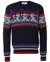 MSGM | Jacquard Crew Sweater | Lyst