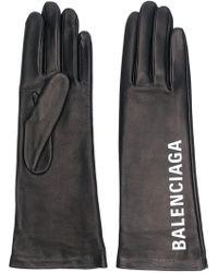 Balenciaga - Logo Print Gloves - Lyst