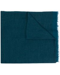 Faliero Sarti Frayed Plain Scarf - Blue