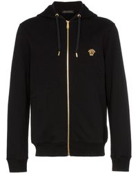 Versace - Medusa Embroidered Zip Up Hooded Jumper - Lyst