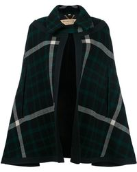 Burberry - Exploded Tartan Wool Cape - Lyst
