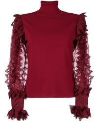 Antonio Berardi - Sheer Contrast Sleeved Top - Lyst