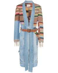 Greg Lauren - Contrast Denim And Knit Kimono Style Jacket - Lyst