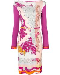 Emilio Pucci - Boat Neck Floral Dress - Lyst