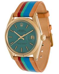 La Californienne - Aqua Le Pliage Rolex Oyster Perpetual Date 14k Solid Gold Watch 34mm - Lyst