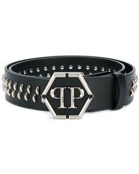 Philipp Plein - Studded Logo Plaque Belt - Lyst