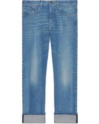Gucci - Denim Pant With Web - Lyst