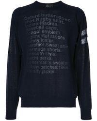 Kolor | Sheer Slogan Sweater | Lyst