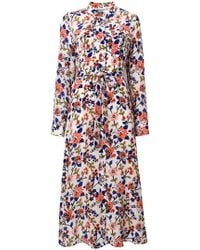 Essentiel Antwerp - Floral Print Midi Shirt Dress - Lyst