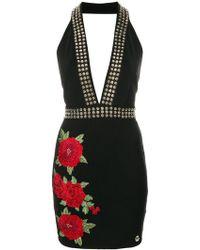 Philipp Plein | Rose Patch Halterneck Mini Dress | Lyst