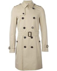 Burberry - Double Breasted Gabardine Trench Coat - Lyst