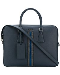 Prada - Contrast Stripe Laptop Bag - Lyst