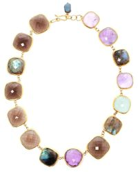 Ram - 18kt Gold Amethyst, Aquamarine, Labradorite And Smoky Quartz Necklace - Lyst