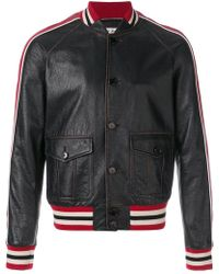 Saint Laurent - Stripe Biker Jacket - Lyst
