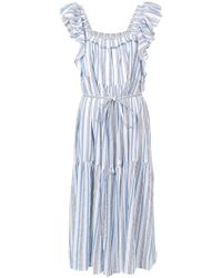 Apiece Apart - Ruffle Sleeve Striped Dress - Lyst