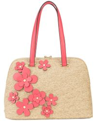 Christian Siriano - Floral Straw Tote - Lyst