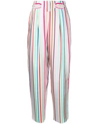 Emporio Armani - Striped Printed Loose Trousers - Lyst