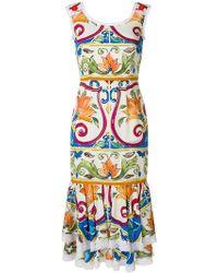 Dolce & Gabbana - Majolica Print Midi Dress - Lyst