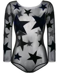 Alexia Hentsch - Black Silk Blend Star Applique Bodysuit - Lyst