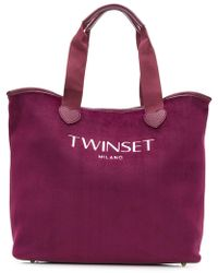 Twin Set - Embroidered Logo Tote Bag - Lyst