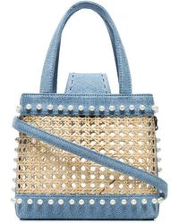 Mehry Mu - Mini Fey Denim And Rattan Bag - Lyst