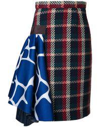 Kolor - Checked Skirt - Lyst