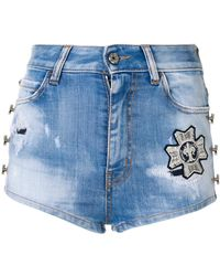 Just Cavalli - Embroidered Patch Distressed Denim Shorts - Lyst