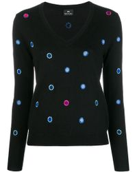 PS by Paul Smith - Embroidered Spot V-neck Jumper - Lyst