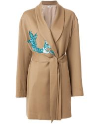 Attico - Belted Wrap Coat With Sequin Appliqué - Lyst