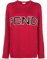 Fendi - Wool Sweater With Logo - Lyst
