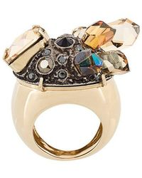 Lanvin - Crystal Embellished Chunky Ring - Lyst