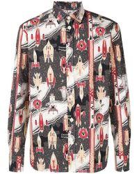 Maison Kitsuné - Hemd mit Raketen-Print - Lyst
