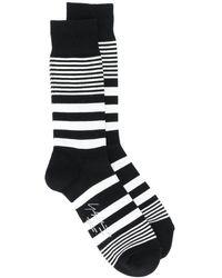 Yohji Yamamoto ボーダー靴下 - ブラック