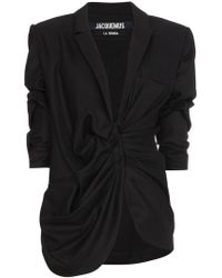 Jacquemus - Wool Blazer With Gathered Waist - Lyst