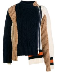 Sacai - Multi-panel Cable-knit Sweater - Lyst