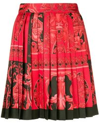 Versace - Baroque-print Pleated Skirt - Lyst